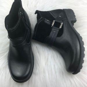Nwot Earth Origins black leather buckle booties 8